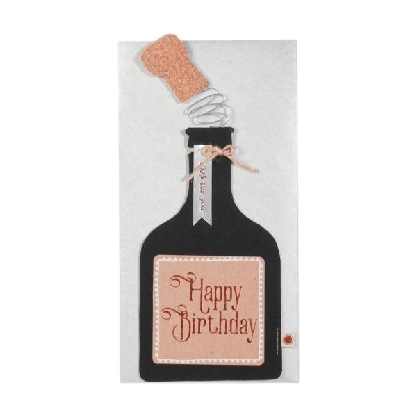 Glückwunschkarte Flasche Happy Birthday
