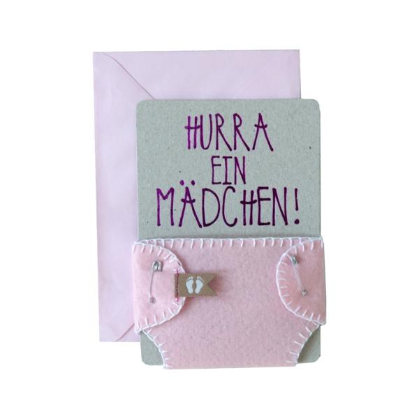 """Windelkarte """"Hurra ein Mädchen"""""""