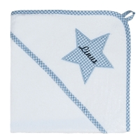 Kapuzenhandtuch Vichy-Karo hellblau (Stern)